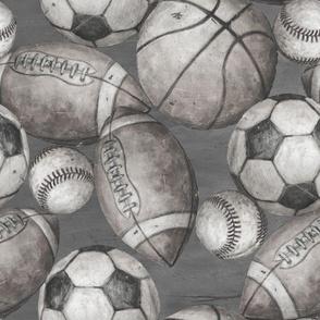 Be the Ball Sports Fabric- Soccer, Baseball, Football and Basketball Grayscale