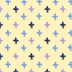 Shoreline Cross on Lemon - Lilac Navy