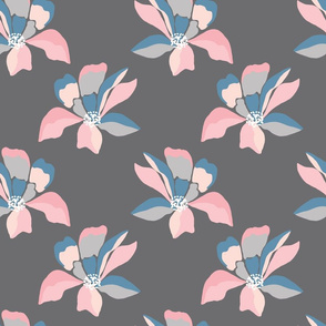 Pretty stylised pink floral on charcoal