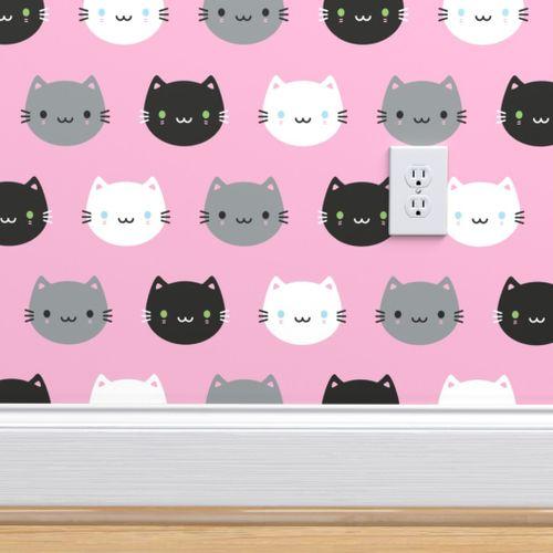 Cute Cats Kawaii Kittens Pink Spoonflower