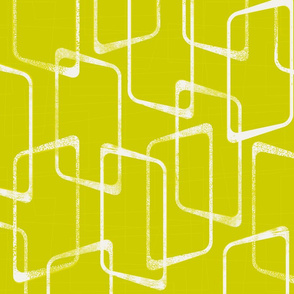 Retro Geometric Shapes Pattern in Lime Green