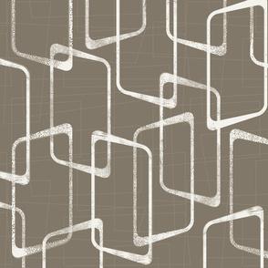 Dark Warm Gray Retro Geometric Pattern