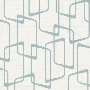 Reverse Dusty Blue Retro Geometric Pattern