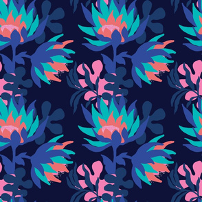 Bold, layered floral on a navy base