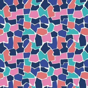 Multi coloured, geometric shapes