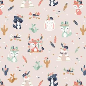 Cute Bohemian Friends - main pattern - BIG