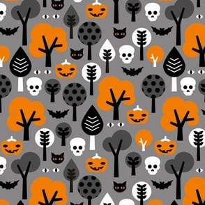 Halloween friends woodland trees bats owls pumpkins and cats geometric trend illustration pattern for kids orange gray black and orange gender neutral
