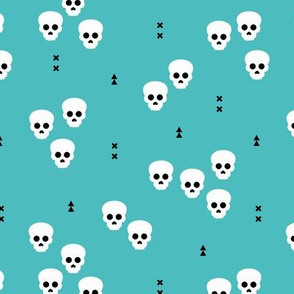 Minimal geometric skulls and arrows design halloween horror print gender neutral blue