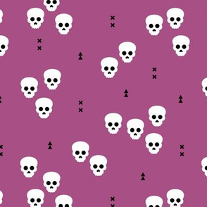 Minimal geometric skulls and arrows design halloween horror print gender neutral purple