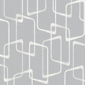 Retro Silver Gray  Lino Print Pattern