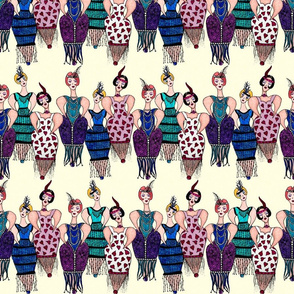 Whimsical Flappers on Cream Background