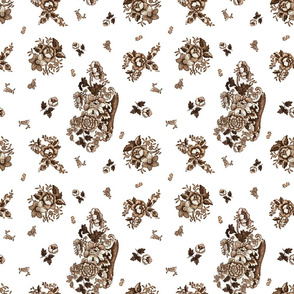 English Floral Brown - small