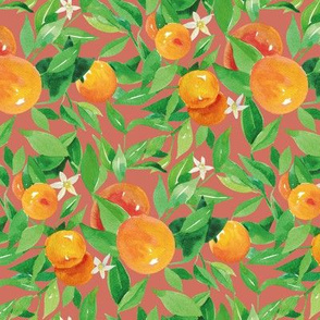 Watercolor Oranges and flowers - on brown