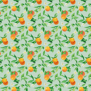 Watercolor Oranges and flowers - on green