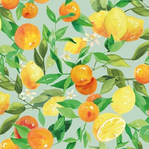 Watercolor Oranges and Lemons - on teal