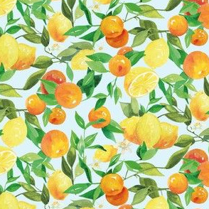 Watercolor Oranges and Lemons - on light blue