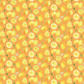 Watercolor Lemons - on orange