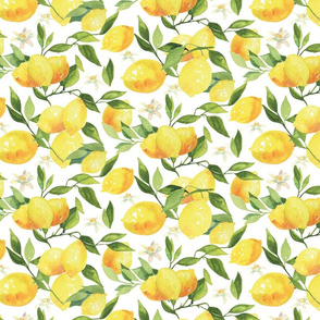 Watercolor Lemons - on white