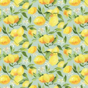 Watercolor Lemons - on teal