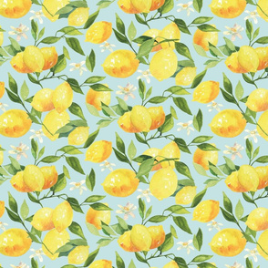 Watercolor Lemons - on light blue