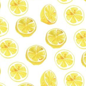 Watercolor Lemon Slices Polka dots - yellow and white