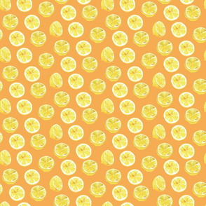 Watercolor Lemon Slices Polka dots - orange