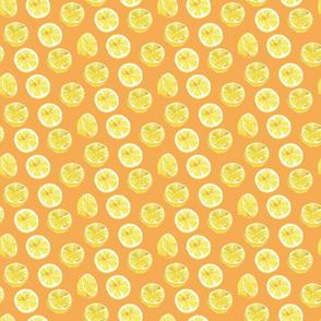 Watercolor Lemon Slices Polka dots - orange