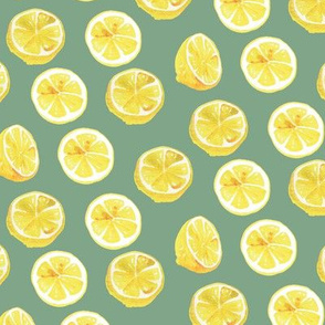 Watercolor Lemon Slices Polka dots