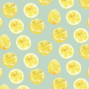 Watercolor Lemon Slices Polka dots - teal