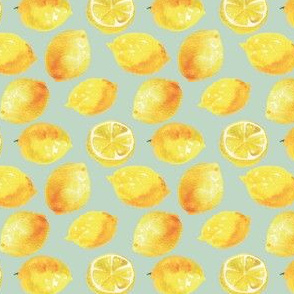 Watercolor Lemons Polka dots - yellow and teal