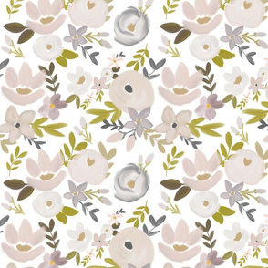 Modern Fall Floral Nudes and Neutrals - White Background