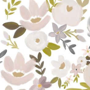Modern Fall Floral Nudes and Neutrals - White Background - LARGE scale