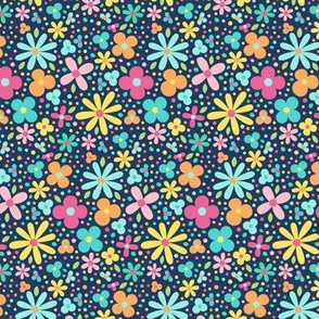 sweet ditsy floral on navy peony