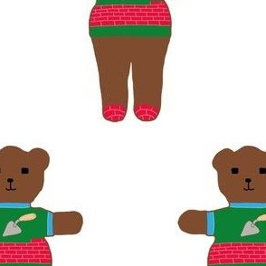 TE_55623_A Teddy bear in sweater with trowel and bricks with mortar of trough