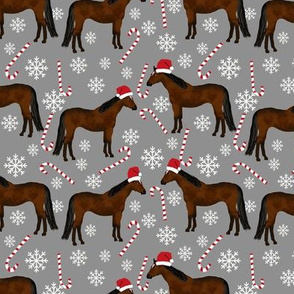 horse christmas fabric - candy cane, peppermint, snowflake, xmas, christmas fabric - grey