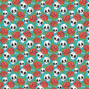 Skulls and Roses Red on Blue Tiny Small