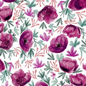 watercolor floral  - deep red, florals, floral, flower, bloom, fall, autumn, flowers - deep purple