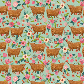 LARGE - highland cattle floral fabric - cow, cows, farm, farmland, highland, cattle, florals