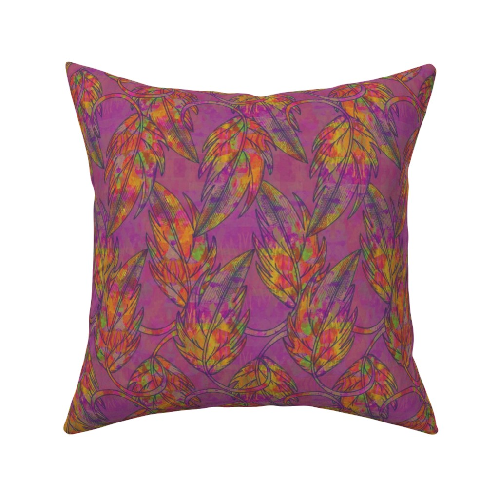 Catalan Throw Pillow featuring Falling leaves, Purple, Large by palifino