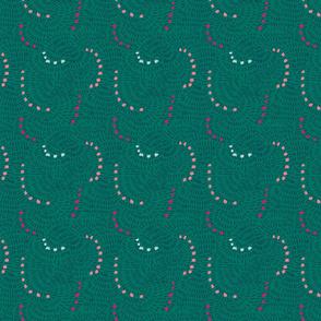 Emerald green dotted/dashed circular pattern