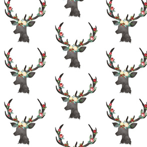 "Christmas White Floral Deer 6.25"""