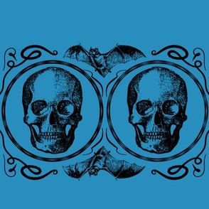 Teal Bats skull halloween