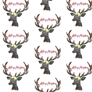 Christmas White Floral Deer Merry Christmas 6.25""