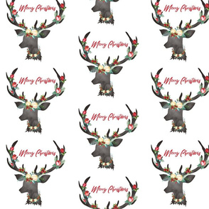 """Christmas White Floral Deer Wreath and Antlers Merry Christmas 6.25"""""""