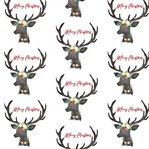 """Christmas White Floral Deer with Wreath Merry Christmas 6.25"""""""