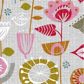 fanciful fifties flowers-jumbo bark cloth floral