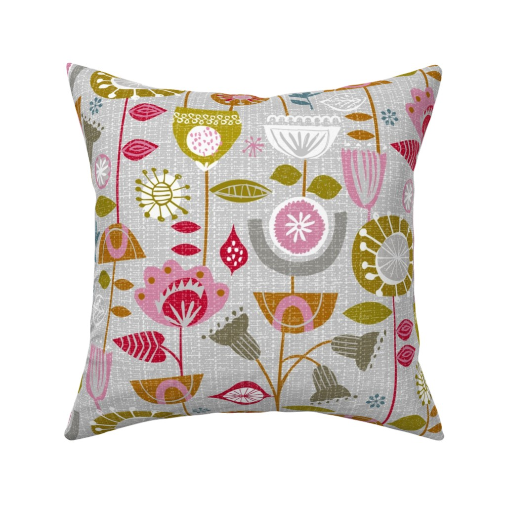 Catalan Throw Pillow featuring fanciful fifties flowers by ottomanbrim