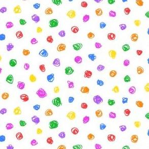 candy colored crayon polkadots