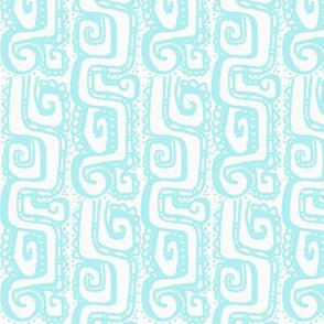 Mexican Wave- Aqua on white