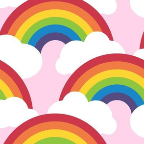 large circle rainbow - sunrise pink
